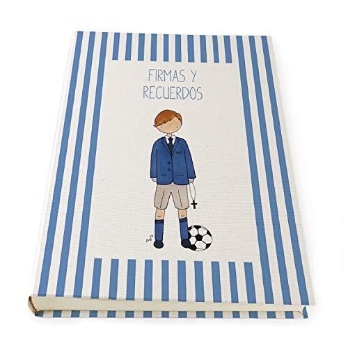 Libro de firmas para comunión Niño con greca de rayas azul