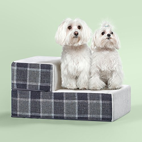 Zinus 2 Step Cozy Pet Stairs/Pet Ramp/Pet Ladder/Grey Checked, X-Small
