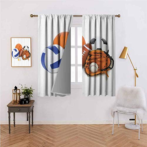 Sports Decor Shading Insulated Curtain Many Different Sports Balls All Together Championship Ping Pong Volleyball Olympics Concept Soundproof Shade W72 x L72 Inch Multi