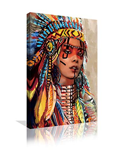 Native American Wall Decor Colorful Feathered Indian Girl Wall Art Prints and Posters Decorations for Living Room Bedroom Scretched Painting Pictures Framed Ready to Hang