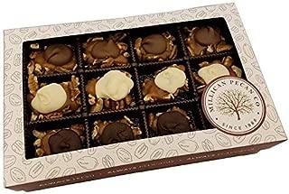 Dark/White/Milk Chocolate Caramel Pecan Caramillicans 8 oz | Millican Pecan since 1888 | San Saba, Texas