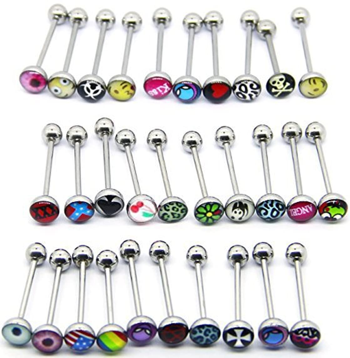 CrazyPiercing 30 PCS (a lot) 316 surgical Steel Metal Tongue rings barbells body piercing