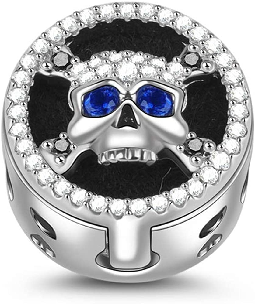 Gnoce Halloween Skull Bead Max 40% OFF Charm Silver Albuquerque Mall Sterling Essential D Oil