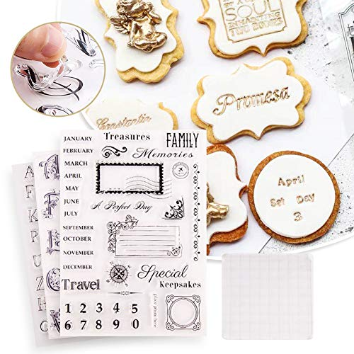 KJGF 4pcs Alphabet Cake Stamp Tool,Alphabet & Numbers Fondant Cake Mold, DIY Cookie Stamp Cookie Cutter Fondant Molds, Handmade English Letters Fondant Biscuit Cake Cookie Mold Baking Tools (4pcs-B)