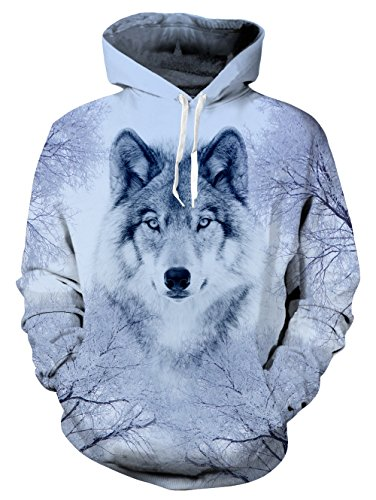 uideazone Women Mens Print Wolf Face Hoodie Sweatshirts Casual Pullover Hoody Coat Medium