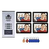 Timbre de Video Wifi, 4 Apartamentos con Sistema de Intercomunicador de Teléfono Videoportero Inalámbrico a prueba de agua, 4 Monitores de 9 pulgadas + Cámara RFID IR-CUT HD con botón