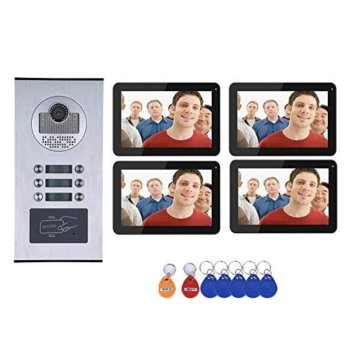 Timbre de puerta con vídeo wifi, para viviendas, impermeable, inalámbrico, 4 monitores de 9 pulgadas + cámara HD IR-CUT con botón