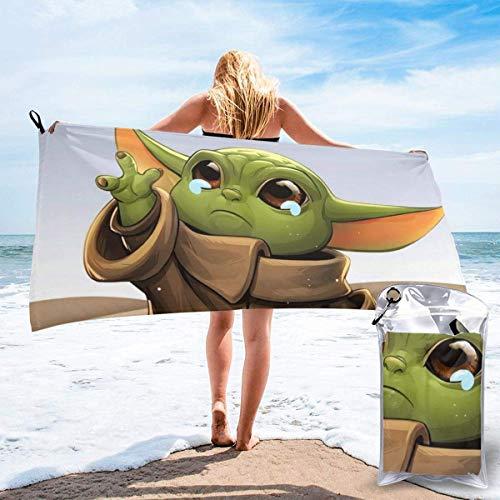 vfrtg Sad Baby Yoda Toallas de baño-Nadadores Toallas Ligeras súper absorbentes-Toallas de Playa de Secado rápido para Camping, Senderismo y Uso doméstico