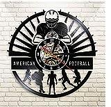 BGNH Autocollant Mural Joueurs de Football Horloge Murale Sport Vestiaire Décoration Murale Design Moderne Rugby Disque Vinyle Horloge Murale Football Fan Cadeau