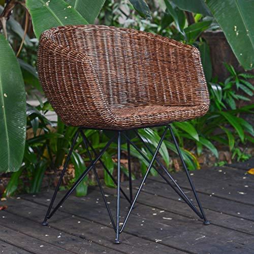 Casa Moro Rattan-Sessel Paris braun mit Armlehne | Premium Qualität Korb-Stuhl aus Naturrattan handgeflochten | Designer Korb-Sessel | Retro-Stuhl für Küche Garten Terrasse Esszimmer | IDSB63