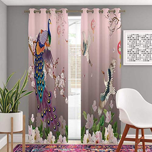 Atomack Plum Blossom Blackout Grommet Curtains 84 Inch Length, Peacock on Branch Flower and Cranes Bird Oriental Asian Curtains 2 Panel Set for Bedroom Living Room, 104 Inch Wide
