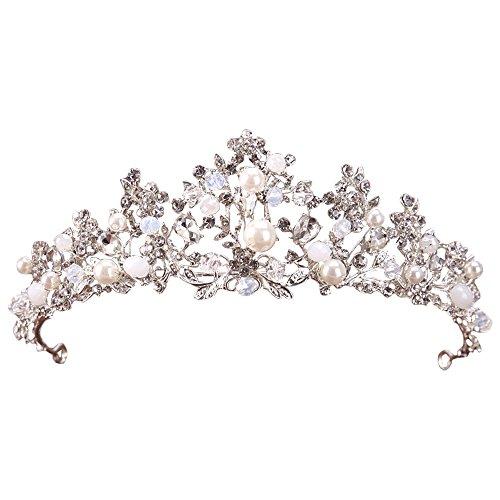 (アイコウシャ)AIKOSHA ROMAN ヘッドドレス カチューシャ ヘアアクセサリー ティアラ 結婚式 ウェディング パール ビーズ ダイヤ シルバー