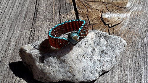 Blue Sky Jasper Handsewn Handmade Bead Ring with Frosted Root Beer Brown Band Size 5.5 Women Teens Girls