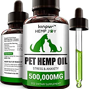 Kinpur Natural Hemp Oil for Dogs & Cats - 240,000mg - Pet Hemp Oil - Separation Anxiety & Stress Relief - Supports Mobility, Hip & Joint, Immune System - Calming Treats for Dogs - Made in USA