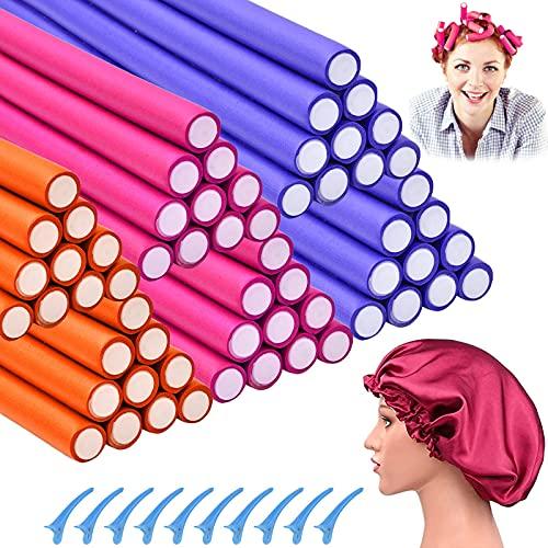 60 Packs Flexible Curling Rods Hair Curlers Twist Foam Hair Rollers Soft Satin Sleep Cap Flexible Rods for Short Long Hair Foam No Heat Flexi-Rods Hair Curler for Women Curly Hair (3 Colors, 3 Size)
