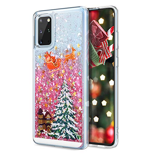 CinoCase Galaxy S20 Plus Case 3D Liquid Case [Christmas Collection] Flowing Quicksand Moving Stars Bling Glitter Snowflake Christmas Tree Santa Pattern Hard Case for Galaxy S20 Plus 6.7 inch Pink