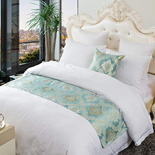 OSVINO ベッド用品 ベッドアクセサリー ベッドライナー ホテル 自宅 ベッドスロー ジャガード織り 上品 落ち着いた色合い 手軽に高級ホテルの雰囲気を再現 シングル/セミダブル/ダブル (グリーン, シングル180x50cm)