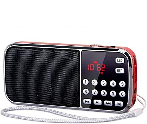PRUNUS J-189 Digital Battery Operated Radio AM FM Portable Radio with Bluetooth, Dual Speakers Heavy Bass, LED Flashlight, Pocket Size, TF Card USB AUX MP3 Player