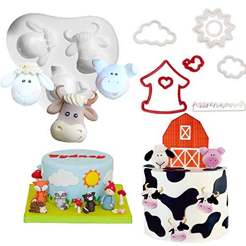 JeVenis 6 Stück Bauernhoftiere Kuchendekoration Kuh Kuchenform für Bauernhoftiere Partyzubehör Bauernhoftiere Gastgeschenke