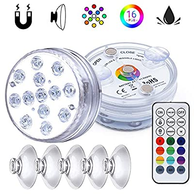 Submersible LED Lights with Magnet Suction Cups, IP68 Waterproof Pool Pond Fountain Lights Underwater Led Lights, Color Changing Bathtub Light with RF Remote for Aquarium Pool Pond and Hot Tub Lights from Underwater Lamp