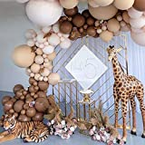 169pcs DIY Balloons Garland with Various Sizes Double-Stuffed Coffee Brown Blush Balloons Jungle Safari Theme Party Woodland Birthday Baby Shower Wedding Thanksgiving Party Decorations