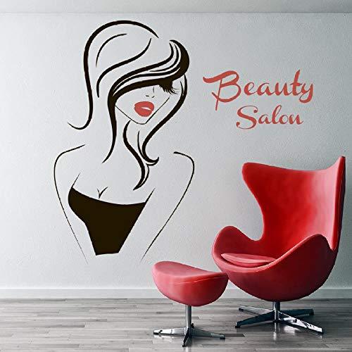 Mural Salon De Beauté Decal De Décor Intérieur Décoration De Salon Coiffeur Cheveux Barbiers Hairdo Fille Visage Yeux Lèvres Autocollants Muraux De Maison & Jardin Bleu 100X96Cm