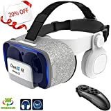 VR Headset with BT Remote Control & Headphones 120° FOV Eye Protected Movies Games Virtual Reality Glasses Myopia Lightweight VR Compatible Android & iOS Phone w/ 4.5-6.0 inches Screen