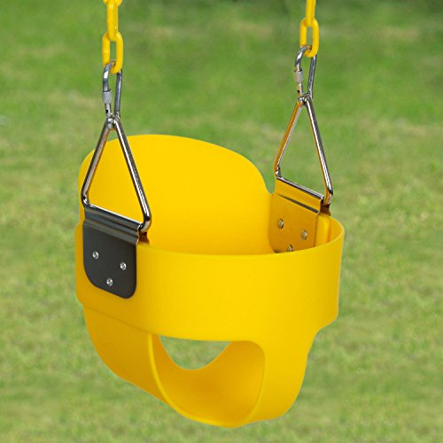 Balanu Heavy Duty High Back Full Bucket Toddler Swing Seat with Coated Swing Chains for Kid Baby Infant - Yard/Garden/Playground Use (Yellow)