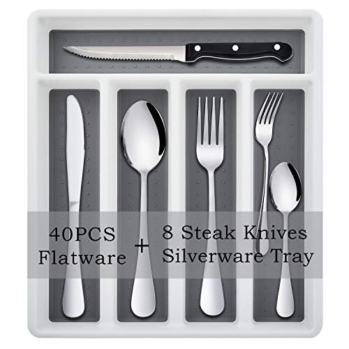 49-Piece Silverware Set with Flatware Drawer Organizer, Stainless Steel Cutlery Set with 8 Steak Knives, Eating Utensils Set Service for 8, Mirror Polished, Dishwasher Safe - Silver