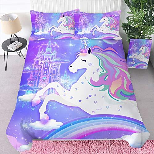 Bonsai Tree Unicorn Comforter Cover Set , Girls Rainbow Full Duvet Cover, 3D Microfiber Bedding Set with Zipper Closure, Soft 3 Piece Bed Set Gifts for Kids (1 Duvet Cover + 2 Pillow Shams), 80'x90'