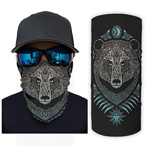 NA Vintage Keltische beer zon maan knopen tattoo druk bandana gezichtsmasker zonnebescherming sjaalmasker
