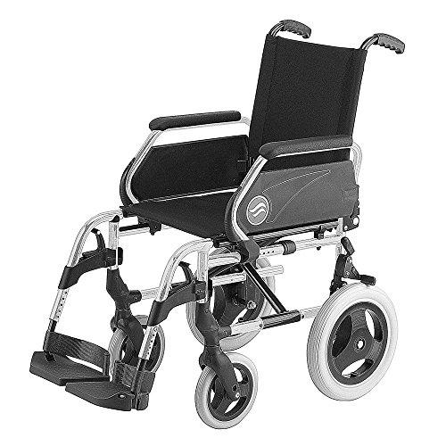 """Silla de ruedas Breezy 250 en acero cromado con ruedas pequeñas de 12"""" asiento de 43 cm"""