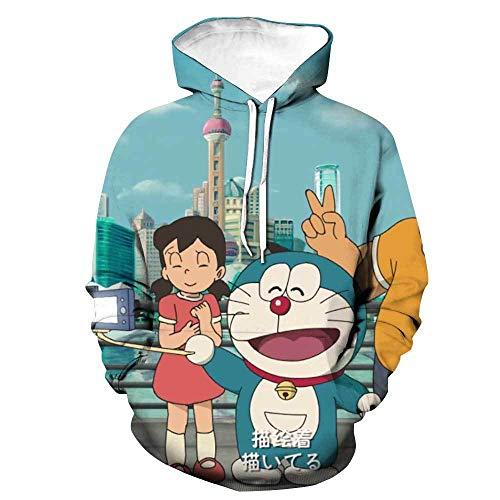 DAFFG Sudaderas con Capucha Unisexo Y Estampado 3D con Bolsillo De Canguro - Doraemon Y Shizuka - Baile Callejero Sudaderas Niño Niña Hombre Mujer Adulto Fresco E Inusual Navidad Sudaderas -