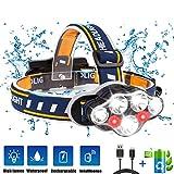 Linterna Frontal LED, Luz Frontal de USB Rechable 15000 lm Impermeable IPX4 con 7 LEDs 8 Modos Perfecto para Acampar, Bicicleta de Montaña, Pesca, Paseo, Acampar, Caminar