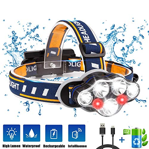 Lampade da Testa LED USB Ricaricabile, Ramotto Torcia Lampade Frontale 15000LM con 7 LED 8 Modalità, Zoomabile Impermeabile per Correre, Campeggiare, Speleologia, Pesca, Cacciare