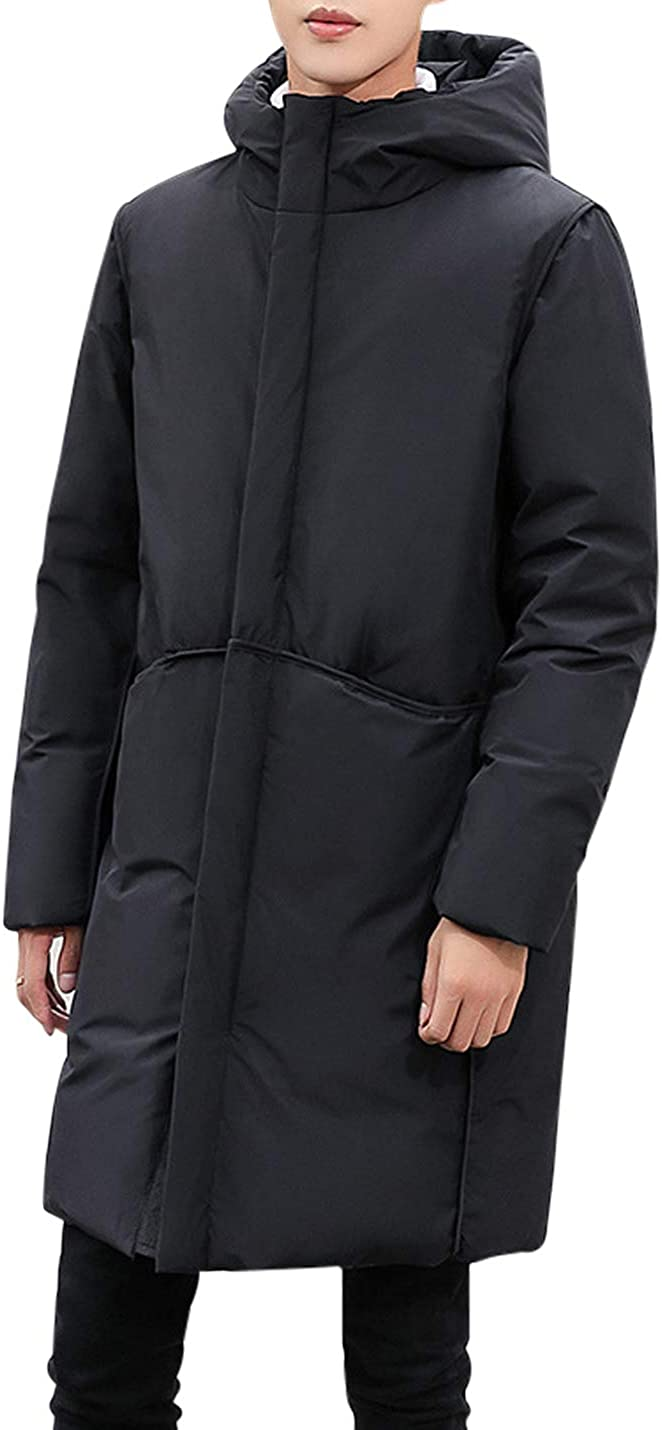 Jenkoon Men's Hooded Puffer Down Jacket Mid Length Thermal Padded Classic Parka Coat