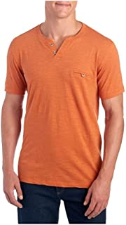 Copper & Oak Mens Short Sleeve Slub Knit Pocket Tee Shirt, Fire