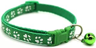 Paw Print Pet Collar for Cats and Dogs Adjustable Nylon Bell Blue Pink Green or Purple Colors