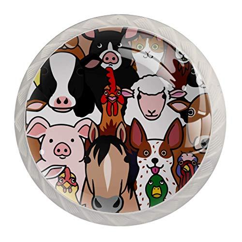 Schubladengriffe ziehen für Home Kitchen Dresser Wardrobe-Doodle Farm Animals Gesichter