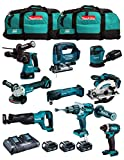 MAKITA Kit MK902 (DHP481 + DHR243 + DGA504 + DTD152 + DJV182 + DSS610 + DJR186 + DBO180 + DTM51 + 3 Batterie 5,0 Ah + Caricabatterie + 2 x LXT600)