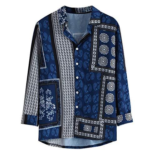 LHWY Camisa de Hombre T Shirt tee Camiseta de Manga Larga Suelta con Cuello Redondo y Estampado de Estilo étnico Vintage para Hombre T Shirt tee (Azul XL)