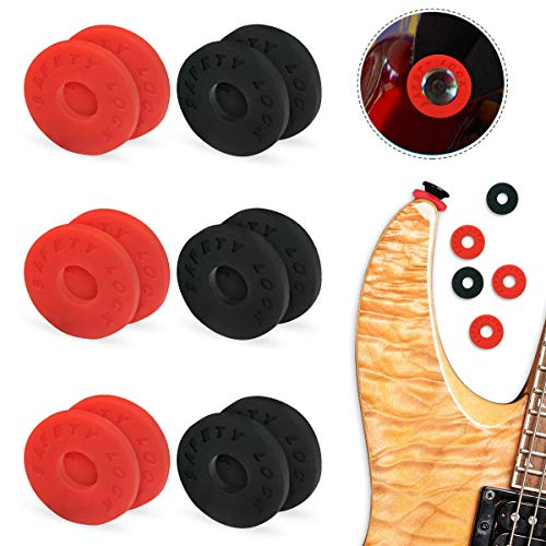 BoloShine 6 Pares Bloqueos de Correa de Guitarra, Silicona Bloques de Goma Pasadores de Botón Seguridad Cerraduras para Clásica Eléctrica Guitarra Protector (Negro, Roja)