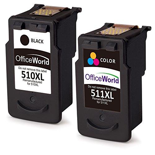 OfficeWorld Remanufactured Canon PG-510 CL-511 Druckerpatronen Hohe Kapazität Kompatibel mit Canon Pixma MP270 MP280 MP230 MP240 MP250 iP2700 MP495 MP490 MX360 (1 Schwarz, 1 Farbe)