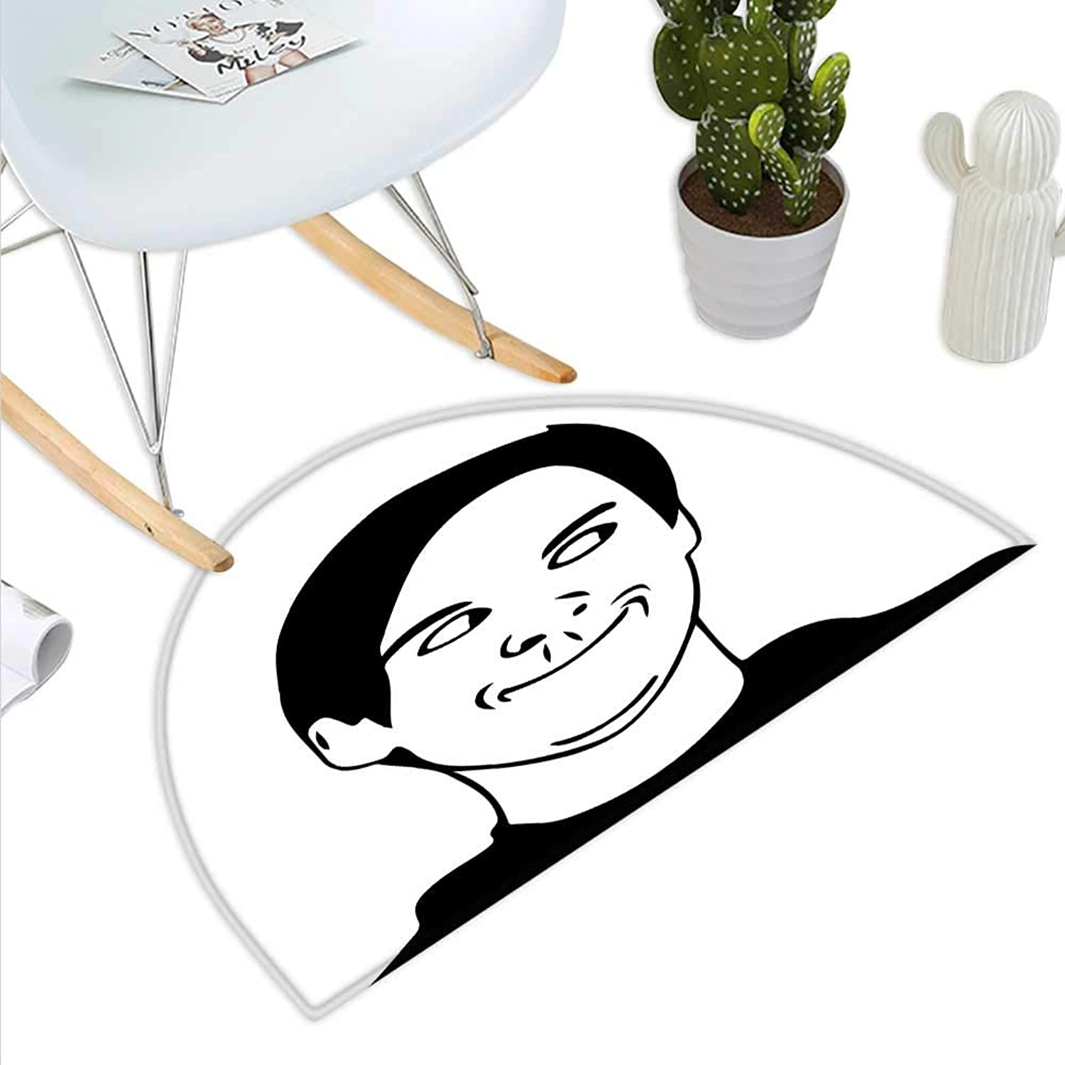 Humor Semicircle Doormat Irritating Troll Face Man with Cynical Expression Oh Crap Famous Fun Image Print Halfmoon doormats H 43.3  xD 64.9  Black and White