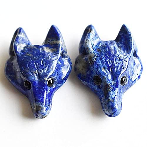 XIAOMAI 2 unids/Lote de Colgantes con Forma de Cabeza de Lobo Tallada de lapislázuli Natural de Moda para la fabricación de Joyas de Collar