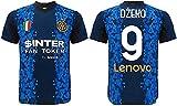 L.C. SPORT SRL Camiseta oficial de Edin Dzeko. Camiseta negra y azul. Número 9. Primera camiseta. Réplica autorizada 2021-2022. Tallas de niño y...