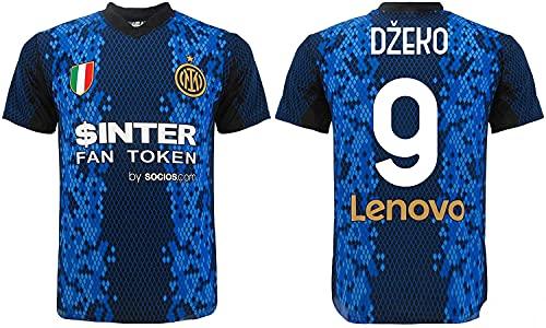 L.C. SPORT SRL Camiseta oficial de Edin Dzeko. Camiseta negra y azul. Número 9. Primera camiseta. Réplica autorizada 2021-2022. Tallas de niño y adulto.