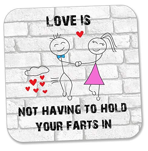 """Untersetzer mit Cartoon-Motiv und Aufschrift """"Love Is Not Having To Hold Your Farts In"""""""