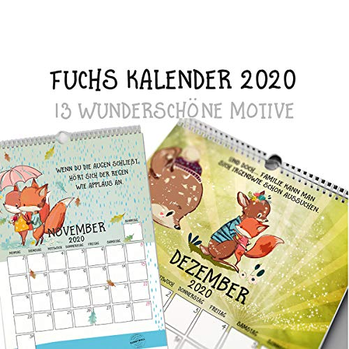 Fuchs & Freunde Kalender 2020 - Terminplaner Jahreskalender Wasserfarben Aquarell Tiere - mit Feiertagen 2020 (Din A4 hoch) (Fuchs Kalendar)