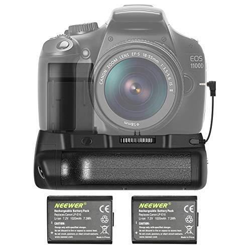 Neewer - Empuñadura Vertical para batería de Repuesto para Canon EOS 1100D / 1200D / 1300D / Rebel T3 / T5 / T6 (2 Unidades)